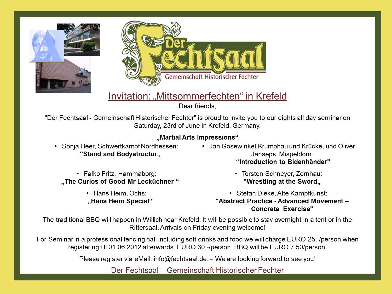 Invitation Mittsommerfechten 2012
